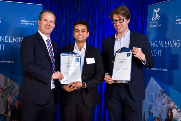 Electrical & Electronic Engineering Merit Award presented by Dean Prof Mark Cassidy. Project: Determining maturity of watermelon fruit using non-destructive methods. Team: Christopher Jury, Ranjaka De Mel