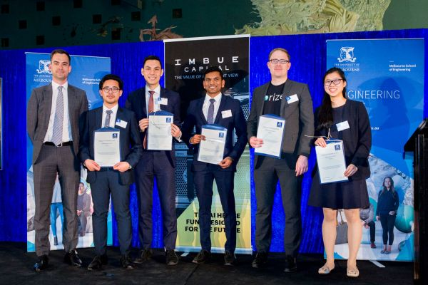 Imbue Capital Award presented by Les Finemore. Project: Predicting agitation in dementia patients. Team: Andrew Bauer, Johnny Le, Sugan Ramasamy, Jessica Tran, Justin Villasin