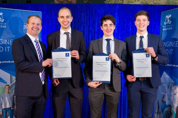 People's Choice Merit Award presented by Dean Prof Mark Cassidy. Project: Window Washing Drone. Team: Edward James, Mathew Knight, Matthew Walker
