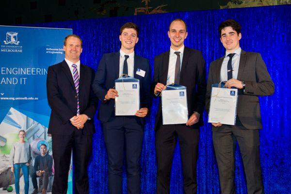 Electrical & Electronic Engineering Best Project Award presented by Dean Prof Mark Cassidy. Project: Window Washing Drone. Team: Edward James, Mathew Knight, Matthew Walker