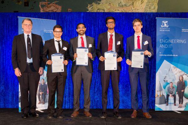 IMarEST Award presented by Douglas Stevens. Project: Underwater 3d scanner. Team: Akshay Kumar, Shivang Khandelwal, Martin Lee, Vishwesh Sridhar