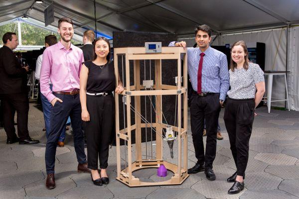 Project: A prototype for 3d printing concrete. Team: Benjamin Appuhamy, Jacky Li, Eleanor Lourey, Alasdair O'Brien