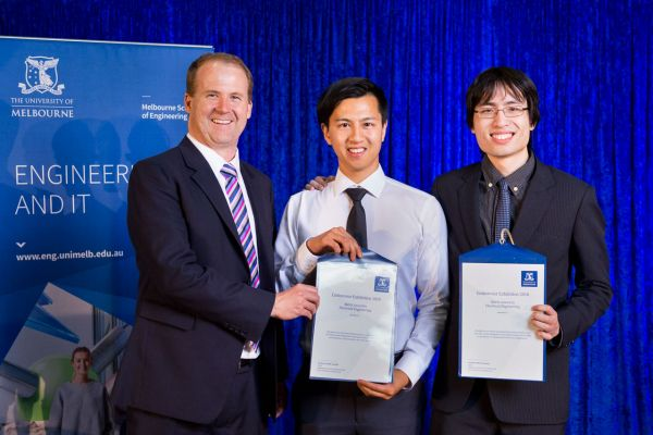 Electrical & Electronic Engineering Merit Award presented by Dean Prof Mark Cassidy. Project: Performing control with encrypted signals. Team: Kevin Ngo, Channa Dias Perera, Julian Tran