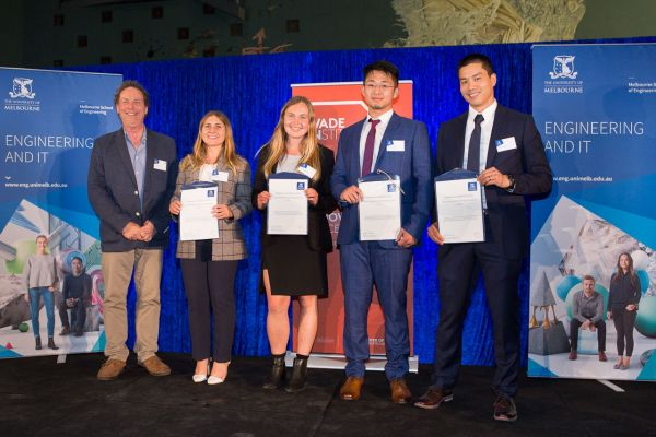 Wade Institute Award presented by Prof Colin McLeod. Project: SepsID. Team: Ashley James, Matthew Lowe, Carmen Verdeyen, Yifan Zhang