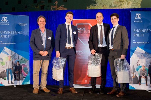 Wade Institute special mention presented by Prof Colin McLeod. Project: Window Washing Drone. Team: Edward James, Mathew Knight, Matthew Walker