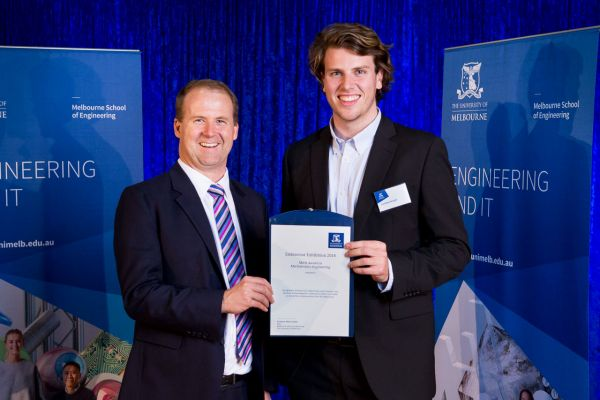 Mechatronic Merit Award presented by Dean Prof Mark Cassidy. Project: Rowing sensor system. Team: Lachlan Wright