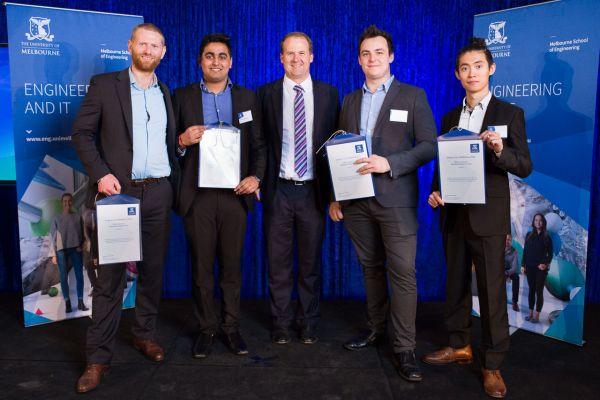 Mechanical Engineering Merit Award presented by Dean Prof Mark Cassidy. Project: MUR integration. Team: Ryan Carter, Sai Fairchild, Ambar Srivastava, Tony Zhang